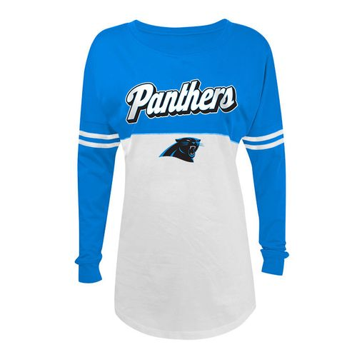 5th & Ocean Clothing Juniors' Carolina Panthers Script Long Sleeve Spirit Jersey
