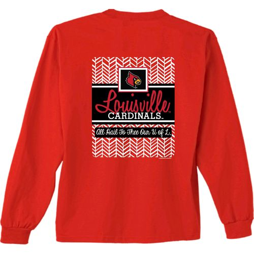 New World Graphics Women's University of Louisville Herringbone Long Sleeve T-shirt