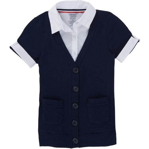 French Toast Toddler Girls' Short Sleeve Cardigan and Blouse 2-fer Uniform Top - view number 1
