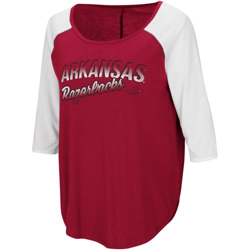 Colosseum Athletics Women's University of Arkansas Draw A Crowd Baseball T-shirt