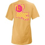 Three Squared Juniors' Louisiana State University Quatrefoil State Monogram T-shirt