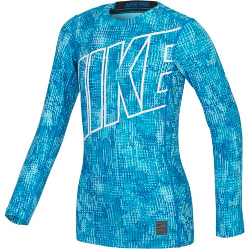 Nike Boys' Warm Allover Print Compression Crew Training Shirt