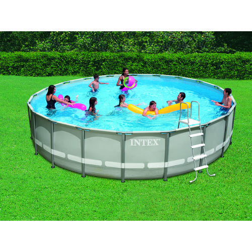 intex 18 39 x 10 39 x 42 oval frame pool set with 1 500 gal. Black Bedroom Furniture Sets. Home Design Ideas