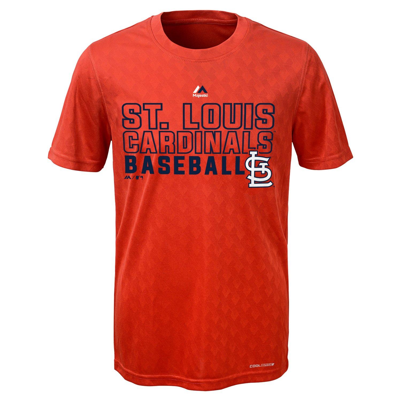 Majestic Boys' St. Louis Cardinals Geo Plex Cool Base Short Sleeve T-shirt