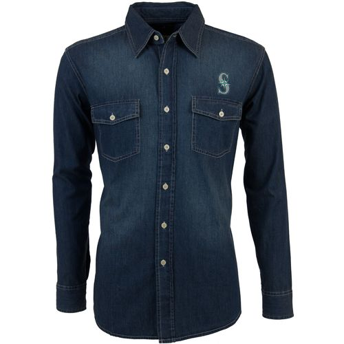 Antigua Men's Seattle Mariners Long Sleeve Button Down Chambray Shirt - view number 1