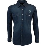 Antigua Men's Seattle Mariners Long Sleeve Button Down Chambray Shirt