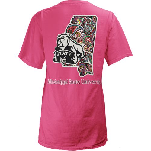 Three Squared Juniors' Mississippi State University Preppy Paisley T-shirt
