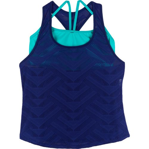 BCG Women's On the Edge Crocheted Tankini Swim Top