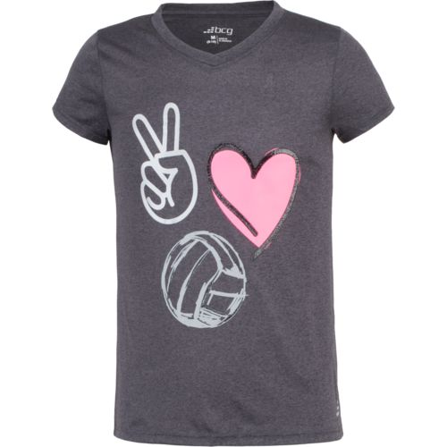 BCG Girls' Turbo Peace Love Volleyball Graphic Short Sleeve T-shirt