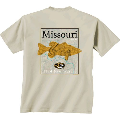 New World Graphics Men's University of Missouri Angler Topo Short Sleeve T-shirt