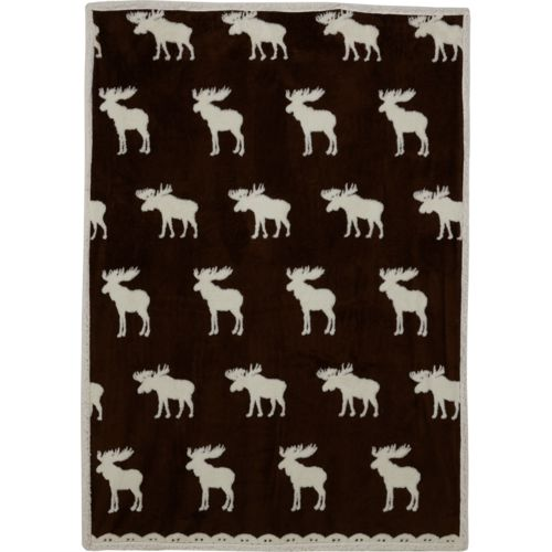 Alpine Lodge Reindeer 50 in x 70 in Sherpa Jacquard Reverse to Sherpa Throw