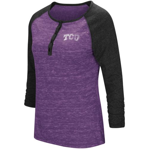 Colosseum Athletics Women's Texas Christian University Slopestyle 3/4 Sleeve Henley