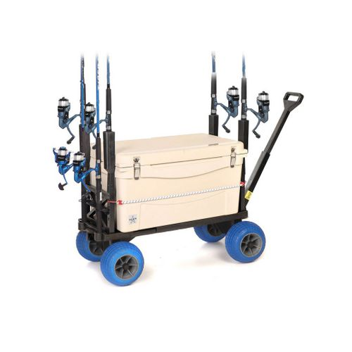 Mighty max plus one surf fishing cart wagon with wheels for Surf fishing cart