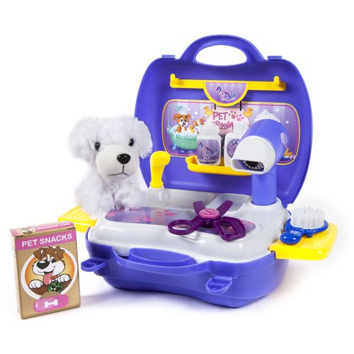 World Tech Toys Pet Grooming 16-Piece Suitcase Play Set - view number 1