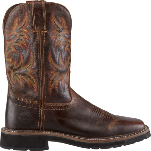 Justin Men's Stampede Square Toe Western Work  Boots