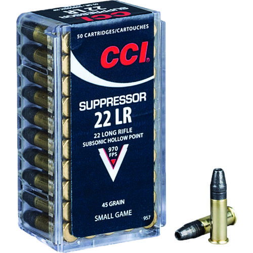 Display product reviews for CCI® Small Game CCI® Suppressor .22 LR 45-Grain Hollow Point Rimfire Ammunition