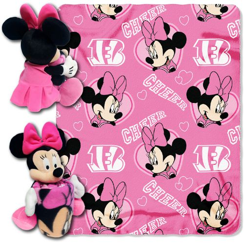 The Northwest Company Cincinnati Bengals Minnie Mouse Hugger and Fleece Throw Set - view number 1