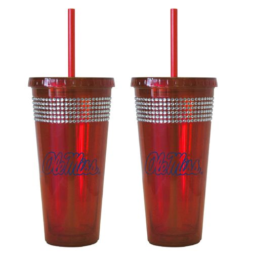 Boelter Brands University of Mississippi 22 oz. Bling Straw Tumblers 2-Pack