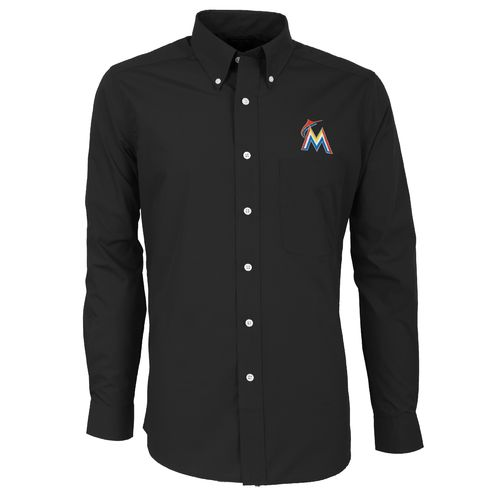 Antigua Men's Miami Marlins Dynasty Long Sleeve Button Down Shirt - view number 1