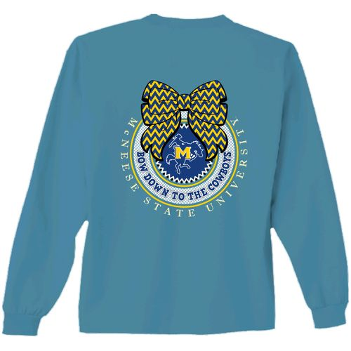 New World Graphics Women's McNeese State University Ribbon Bow Long Sleeve T-shirt
