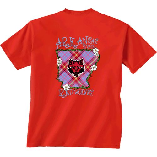 New World Graphics Women's Arkansas State University State Bright Plaid T-shirt