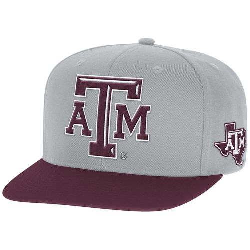adidas Men's Texas A&M University 2-Tone Flat Brim Snapback Cap
