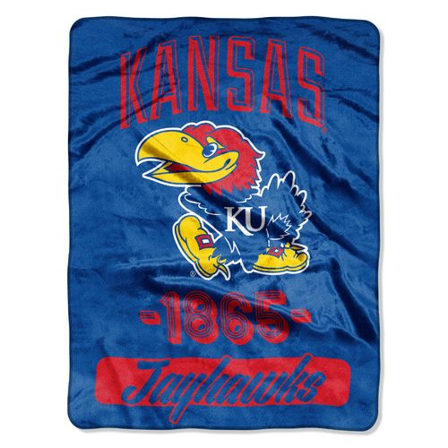 NCAA University of Kansas Halftone Micro Raschel Throw