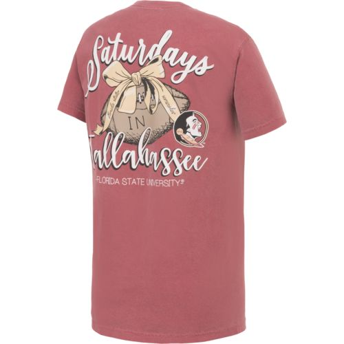 Image One Women's Florida State University Laces and Bows Comfort Color T-shirt