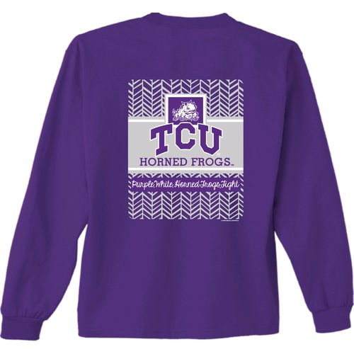 New World Graphics Women's Texas Christian University Herringbone Long Sleeve T-shirt