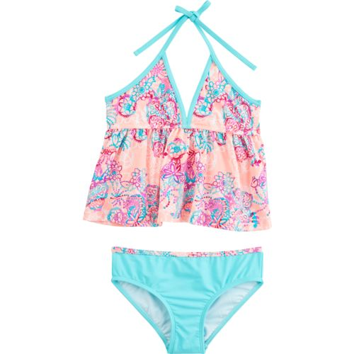 O'Rageous Kids Girls' Floral Spirit 2-Piece Tankini Swimsuit