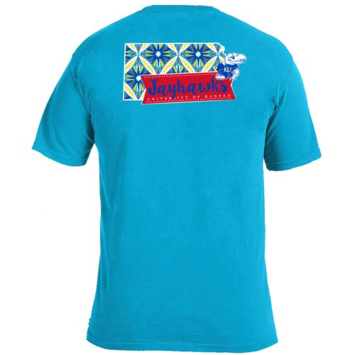 Image One Women's University of Kansas Pattern Scroll State T-shirt