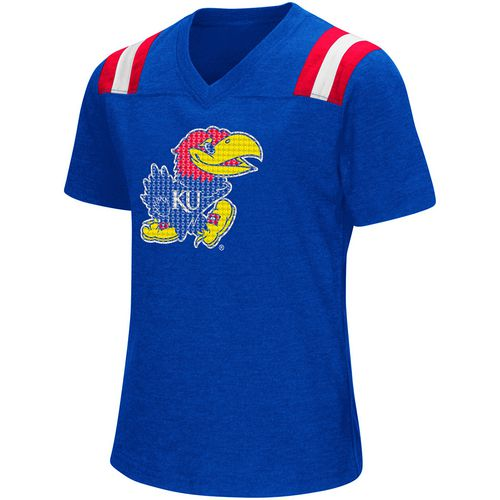 Colosseum Athletics Girls' University of Kansas Rugby Short Sleeve T-shirt