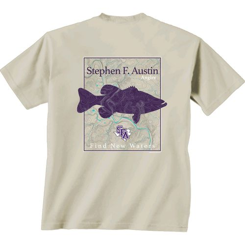 New World Graphics Men's Stephen F. Austin State University Angler Topo Short Sleeve T-shirt