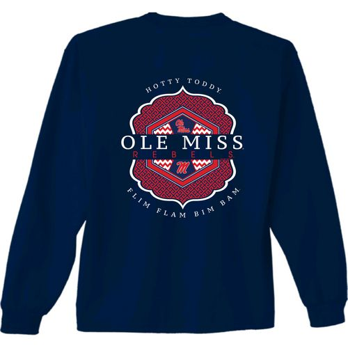 New World Graphics Women's University of Mississippi Faux Pocket Long Sleeve T-shirt