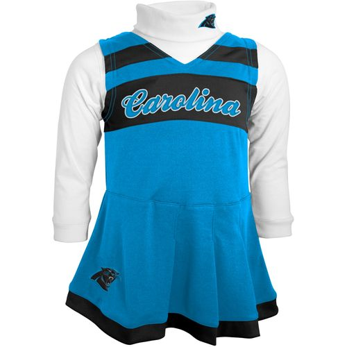 NFL Toddler Girls' Carolina Panthers Cheer Jumper Dress with Turtleneck Set