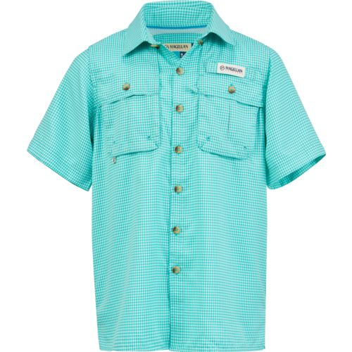 Magellan Outdoors Boys' Aransas Pass Window Check Short Sleeve Fishing Shirt
