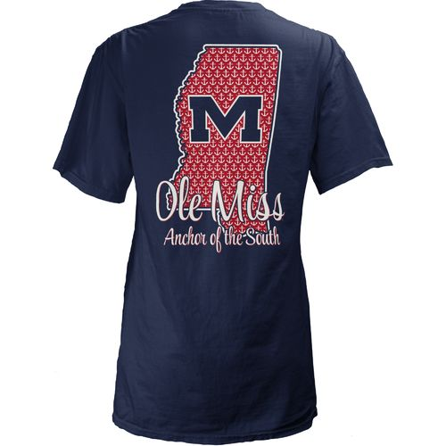 Three Squared Juniors' University of Mississippi State Monogram Anchor T-shirt