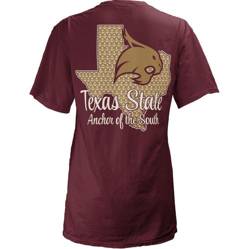 Three Squared Juniors' Texas State University State Monogram Anchor T-shirt