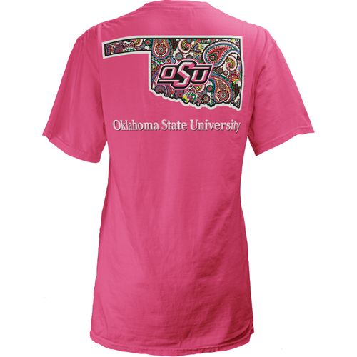 Three Squared Juniors' Oklahoma State University Preppy Paisley T-shirt