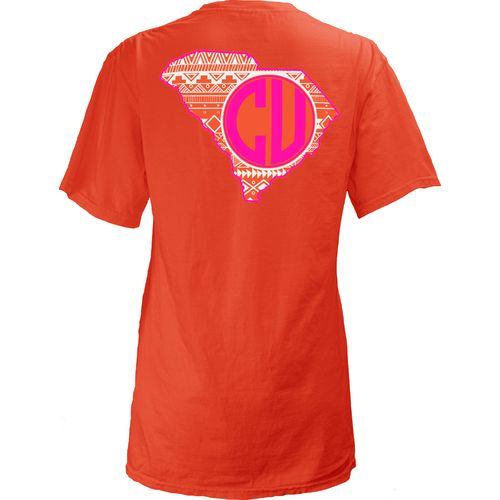 Three Squared Juniors' Clemson University Moonface Vee T-shirt