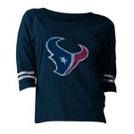 5th & Ocean Clothing Juniors' Houston Texans Hi-Low Logo 3/4 Sleeve Spirit Jersey