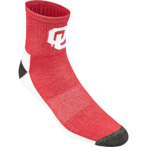 Topsox Men's University of Oklahoma Broken Stripe Quarter Socks 2 Pairs