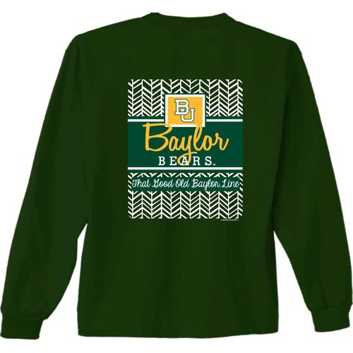 New World Graphics Women's Baylor University Herringbone Long Sleeve T-shirt