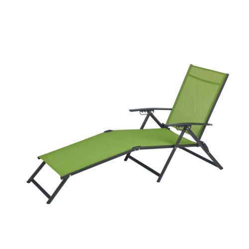 Outdoor vinyl fabric folding chaise steel frame chair - Folding outdoor chaise lounge ...