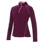 BCG™ Women's Ruched Back Mesh 1/2 Zip Long Sleeve Top