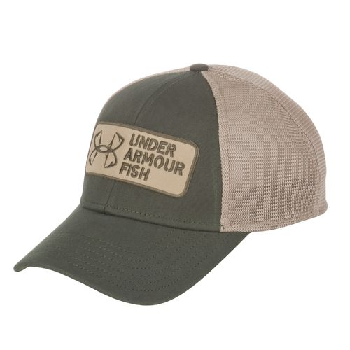Academy under armour men 39 s fishing hook patch logo cap for Fishing logo hats