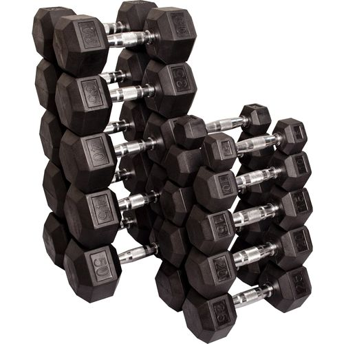 Body-Solid 5 - 50 lb. Rubber Coated Hex Dumbbell Set