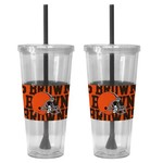 Boelter Brands Cleveland Browns Bold Neo Sleeve 22 oz. Straw Tumblers 2-Pack