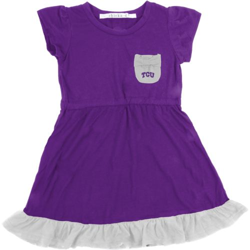 Chicka-d Toddler Girls' Texas Christian University Cap Sleeve Ruffle Dress
