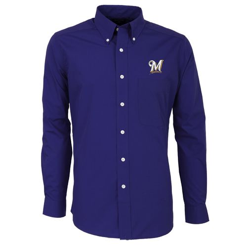 Antigua Men's Milwaukee Brewers Dynasty Long Sleeve Button Down Shirt